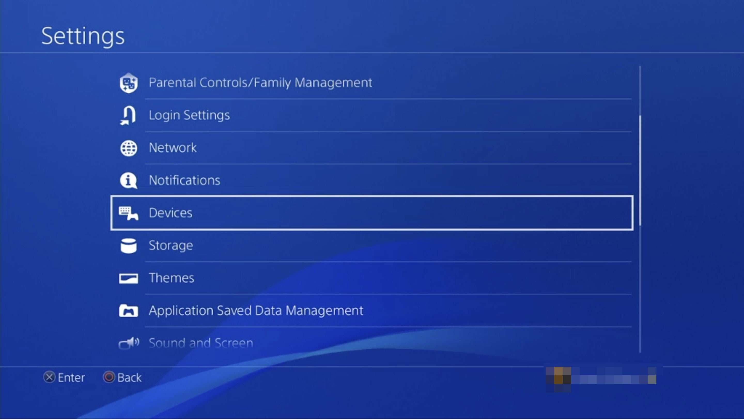 A screenshot of PS4 settings with the Devices section highlighted