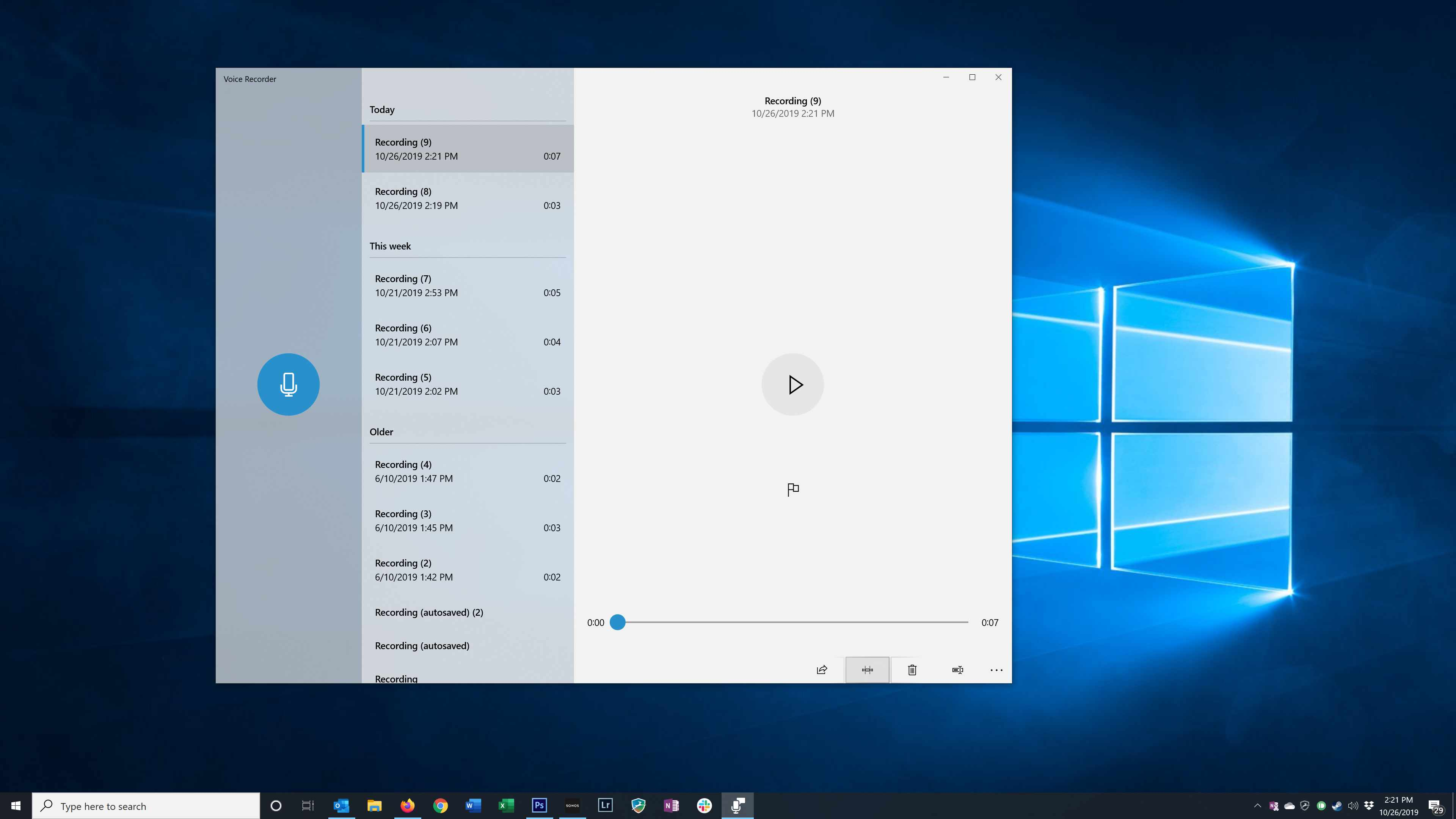 Selecting the Trim button in the Windows Voice Recorder app
