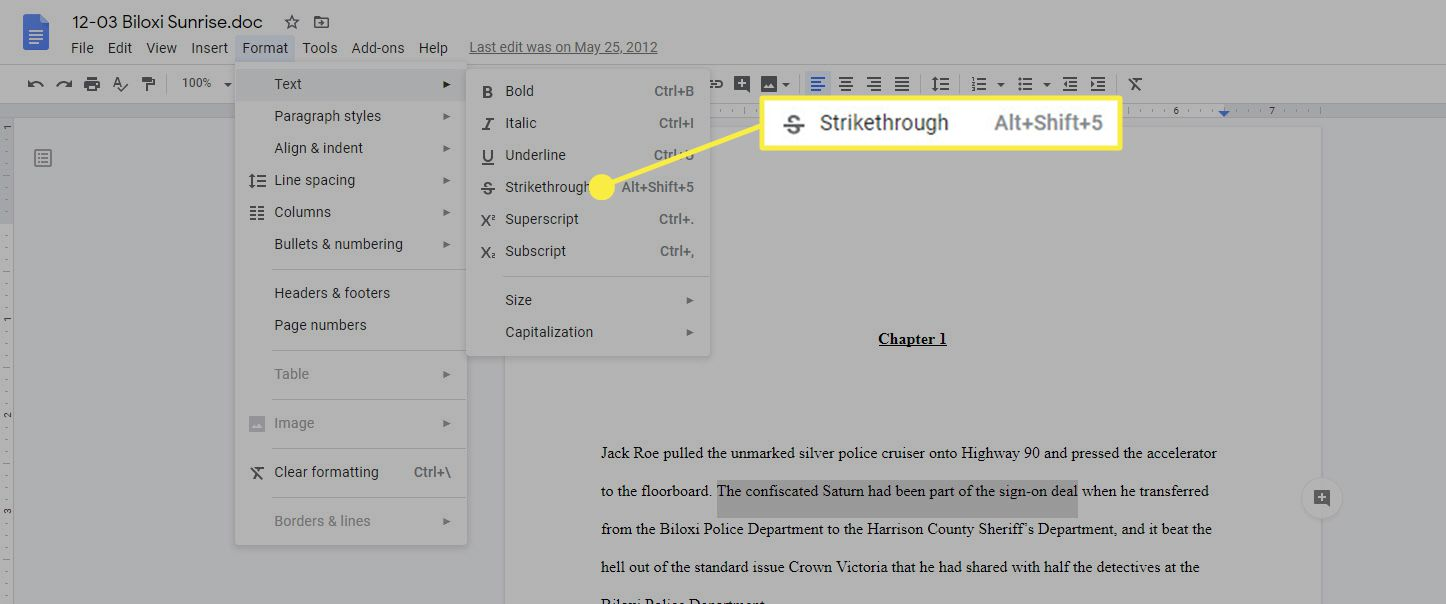 The Strikethrough option highlighted in Google Docs.