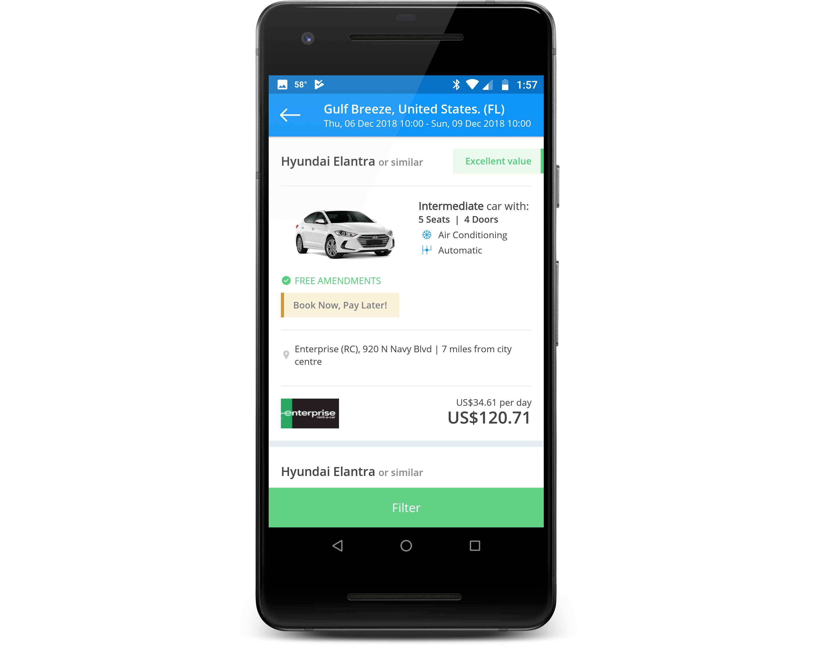 The Rentalcars.com app displayed on a phone