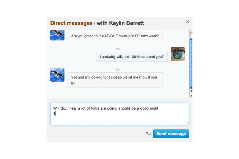 screenshot of a Twitter Direct Message