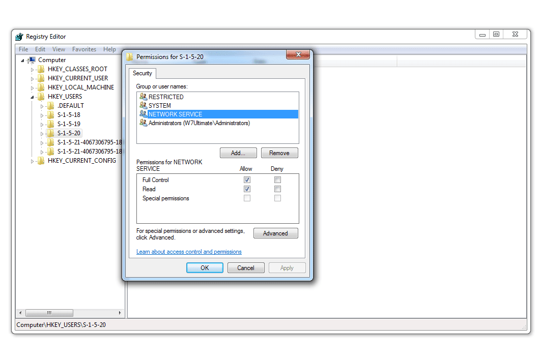 Screenshot of registry permissions in Windows 7