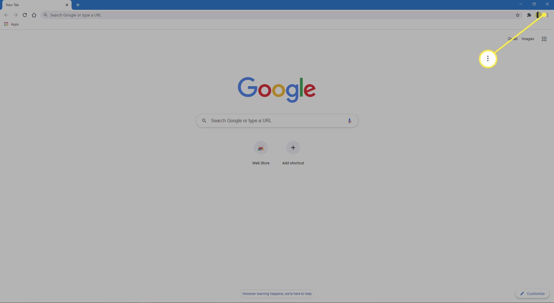 Google Chrome on the Google search page.