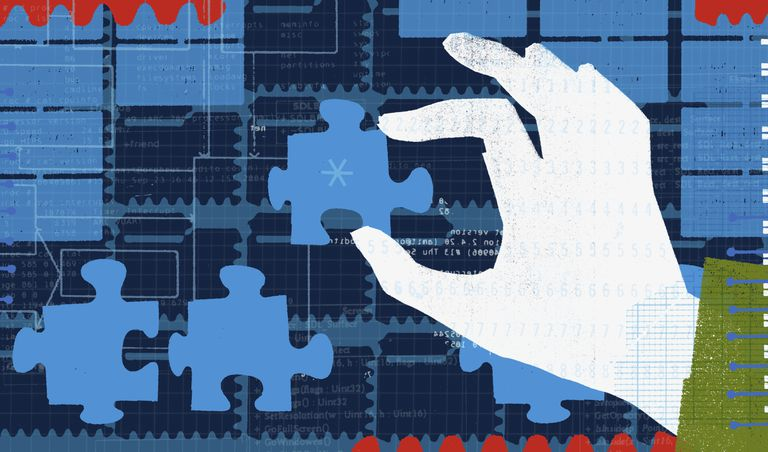 Hand holding network puzzle piece