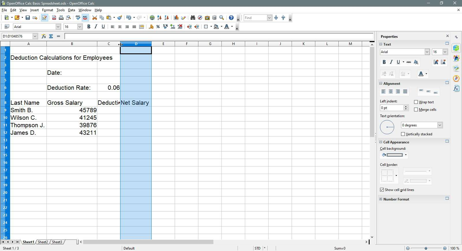 Selecting a column to widen in OpenOffice Calc.