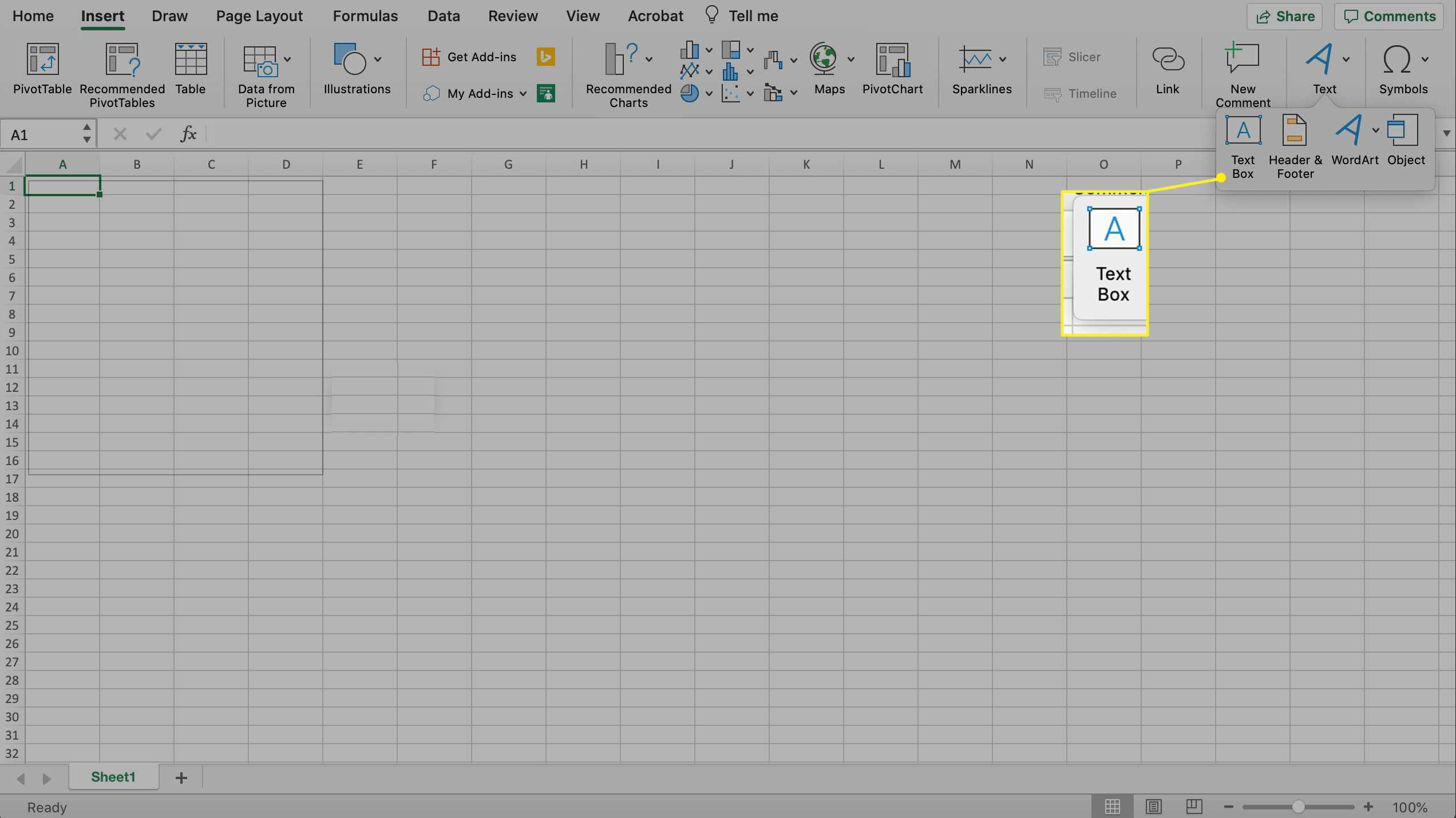 Inserting a text box in excel