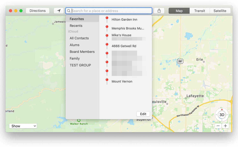 The Favorites drop-down screen in the Mac Maps app