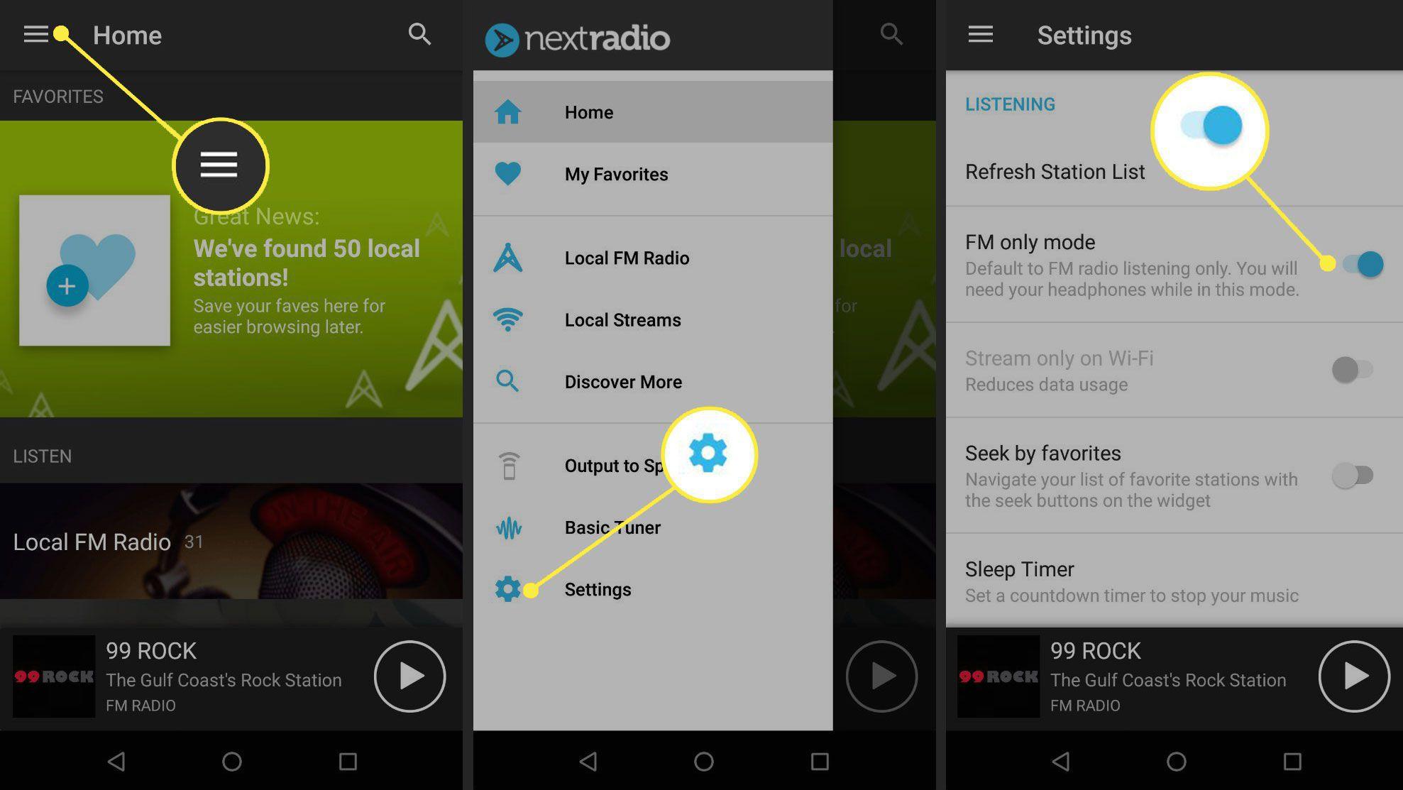 NextRadio settings