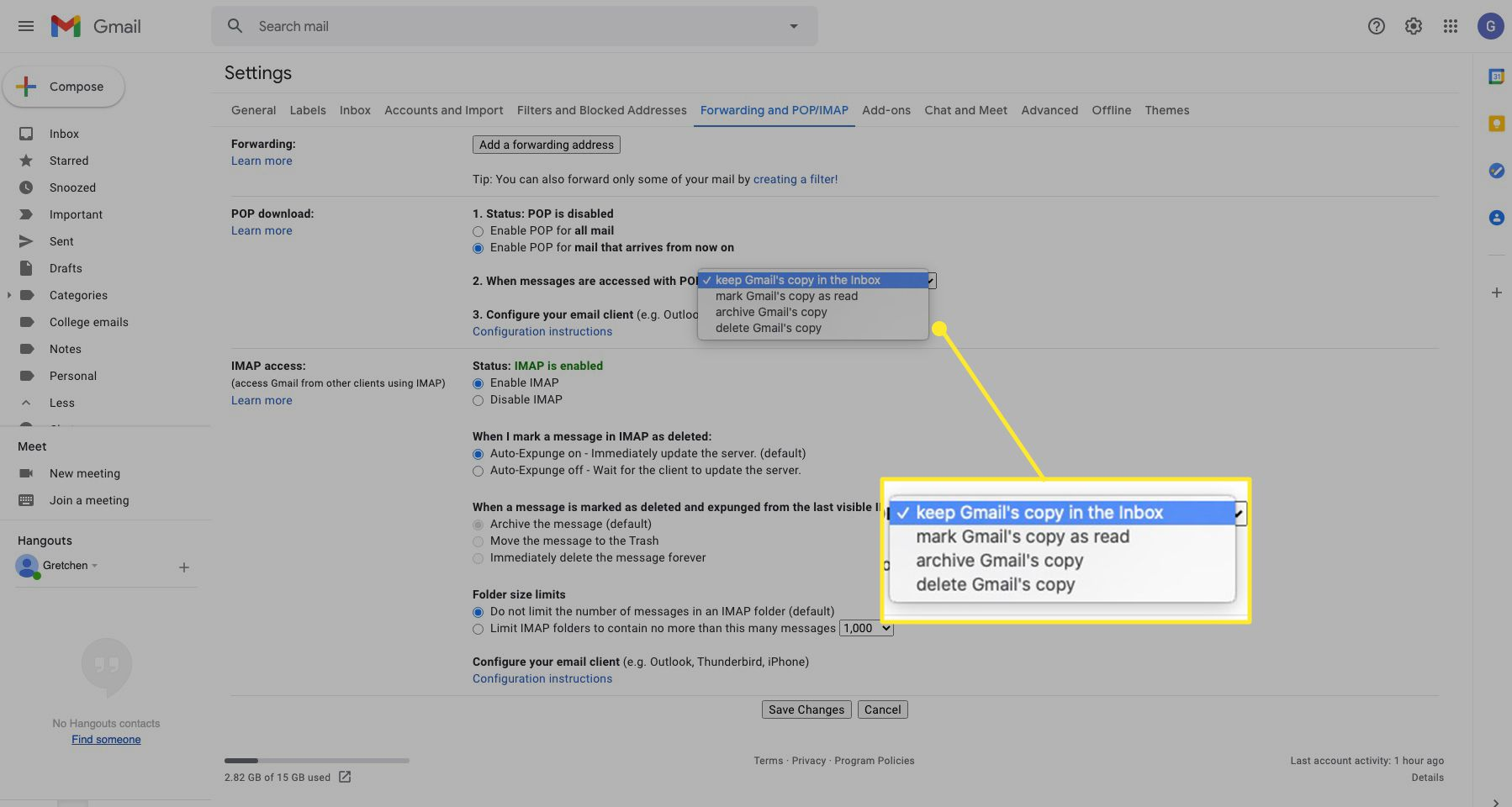 Gmail settings with mail options highlighted