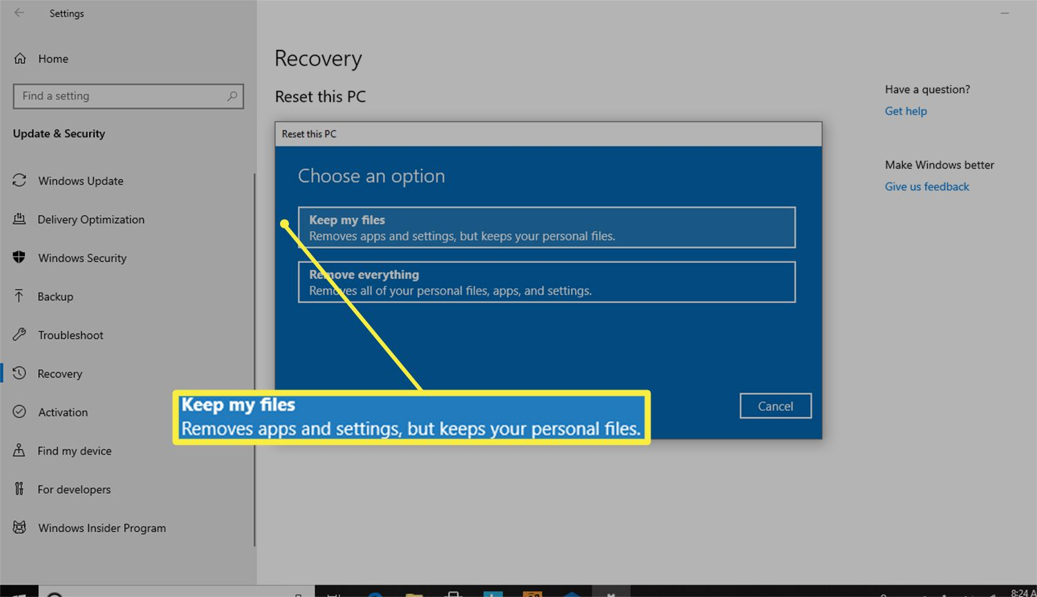 Keep my files option from the Reset this PC dialog box in Windows