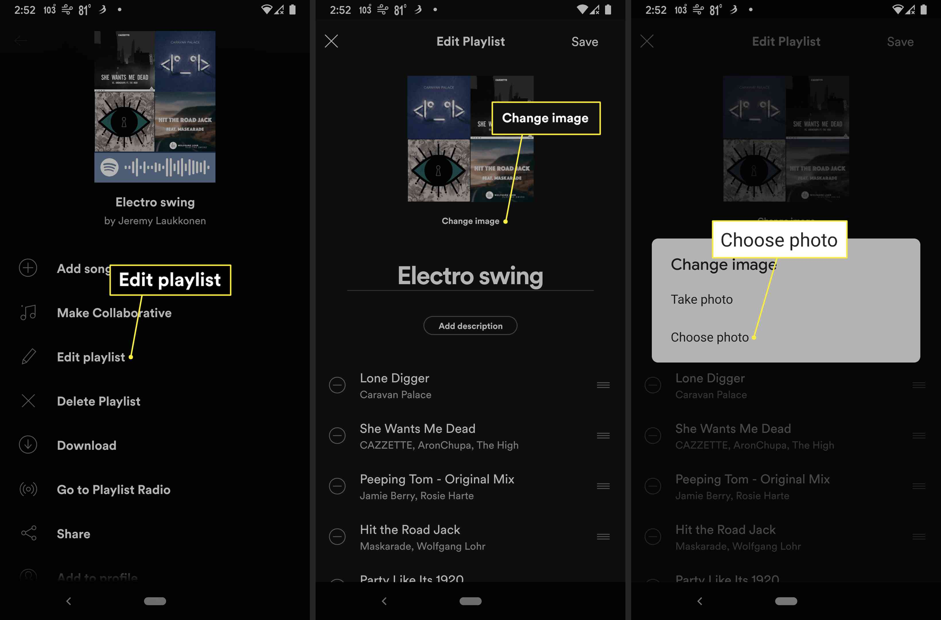 Edit Playlist, Change Image, and Choose Photo highlighted in Spotify app