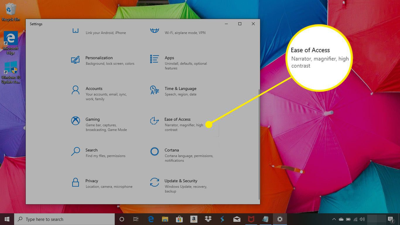 Windows 10 settings with the Ease of Access menu highlighted