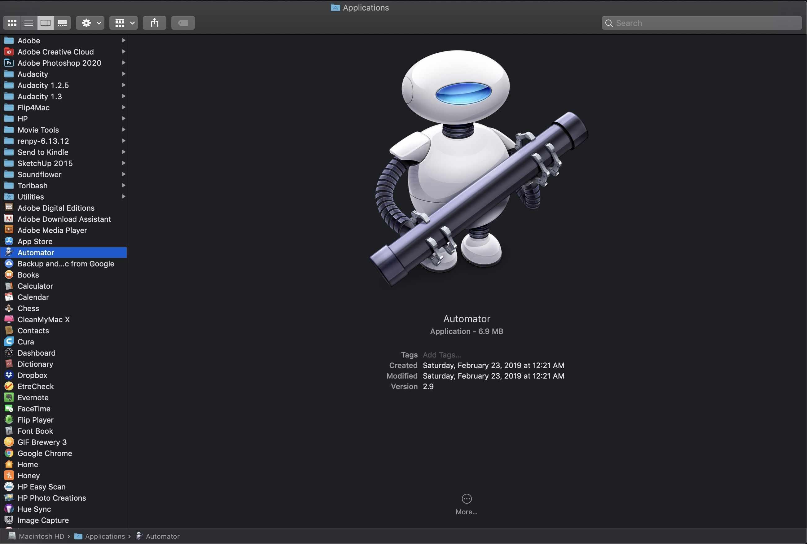 Automator in Finder