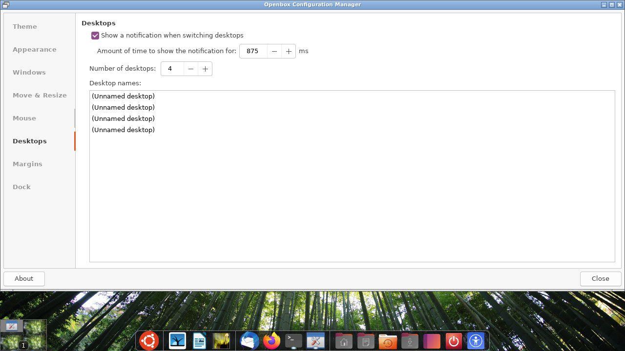 Ubuntu Openbox desktop settings