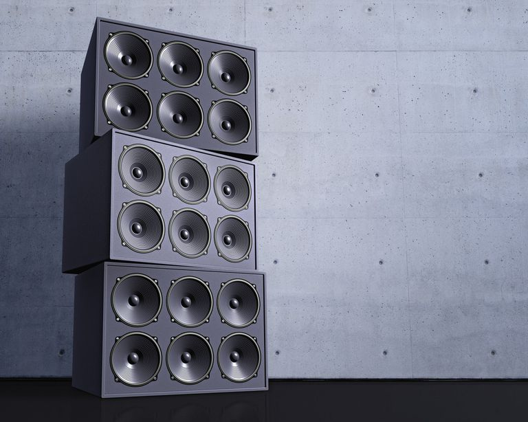 Subwoofers stacked on top of each other.