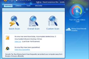 Screenshot of Rising Antivirus Free Edition v23 in Windows 7