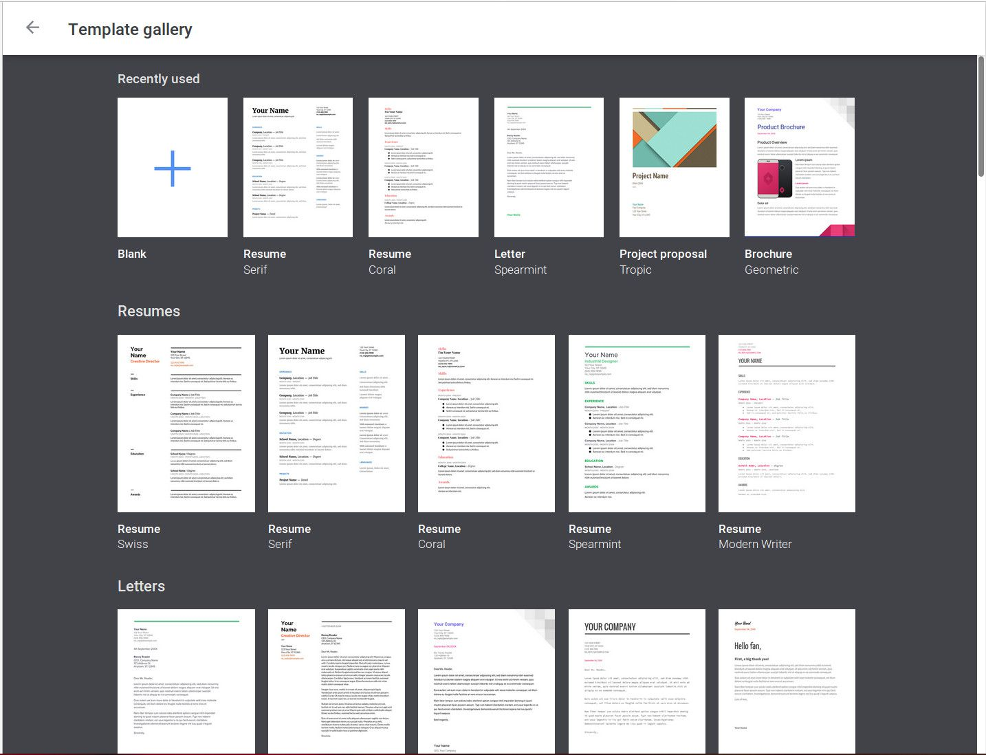 A Screenshot Of The Google Docs Template Gallery