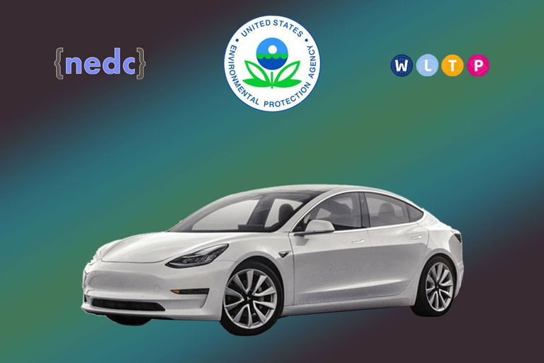 A photo illustration of an EV and logos of governmental agencies.