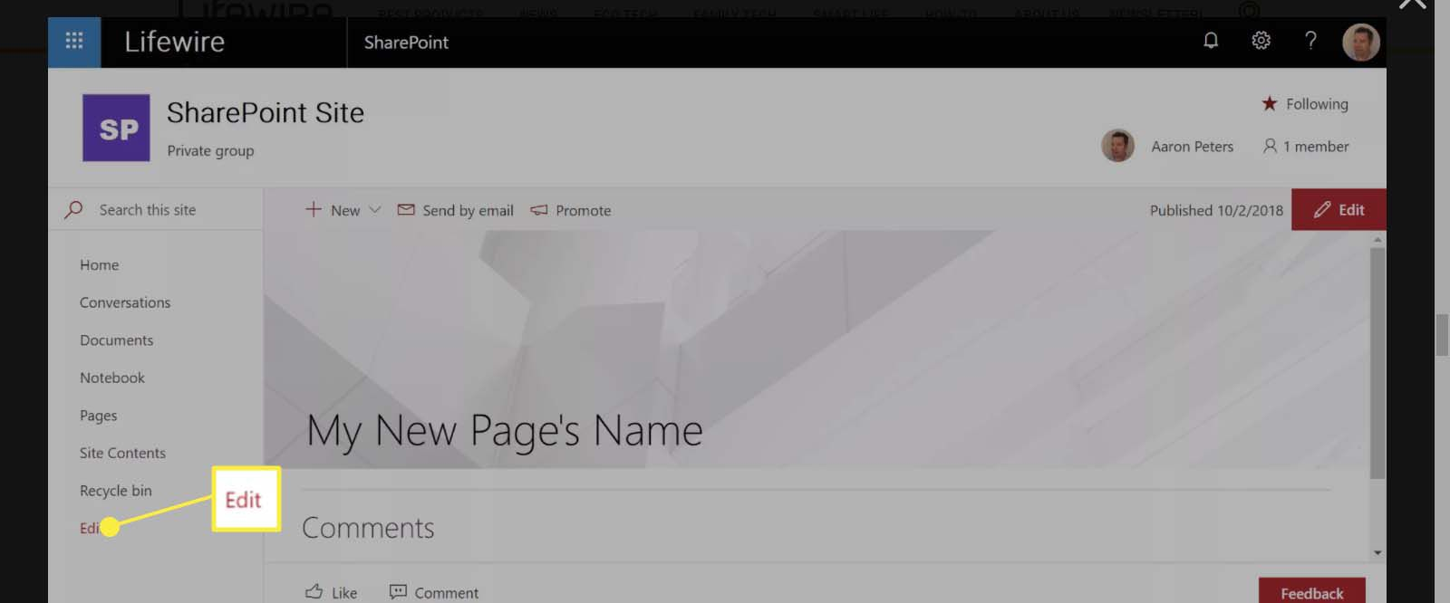 In SharePoint Site window, select