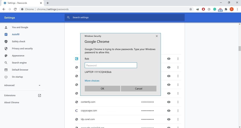 Windows Security login screen on Google Chrome