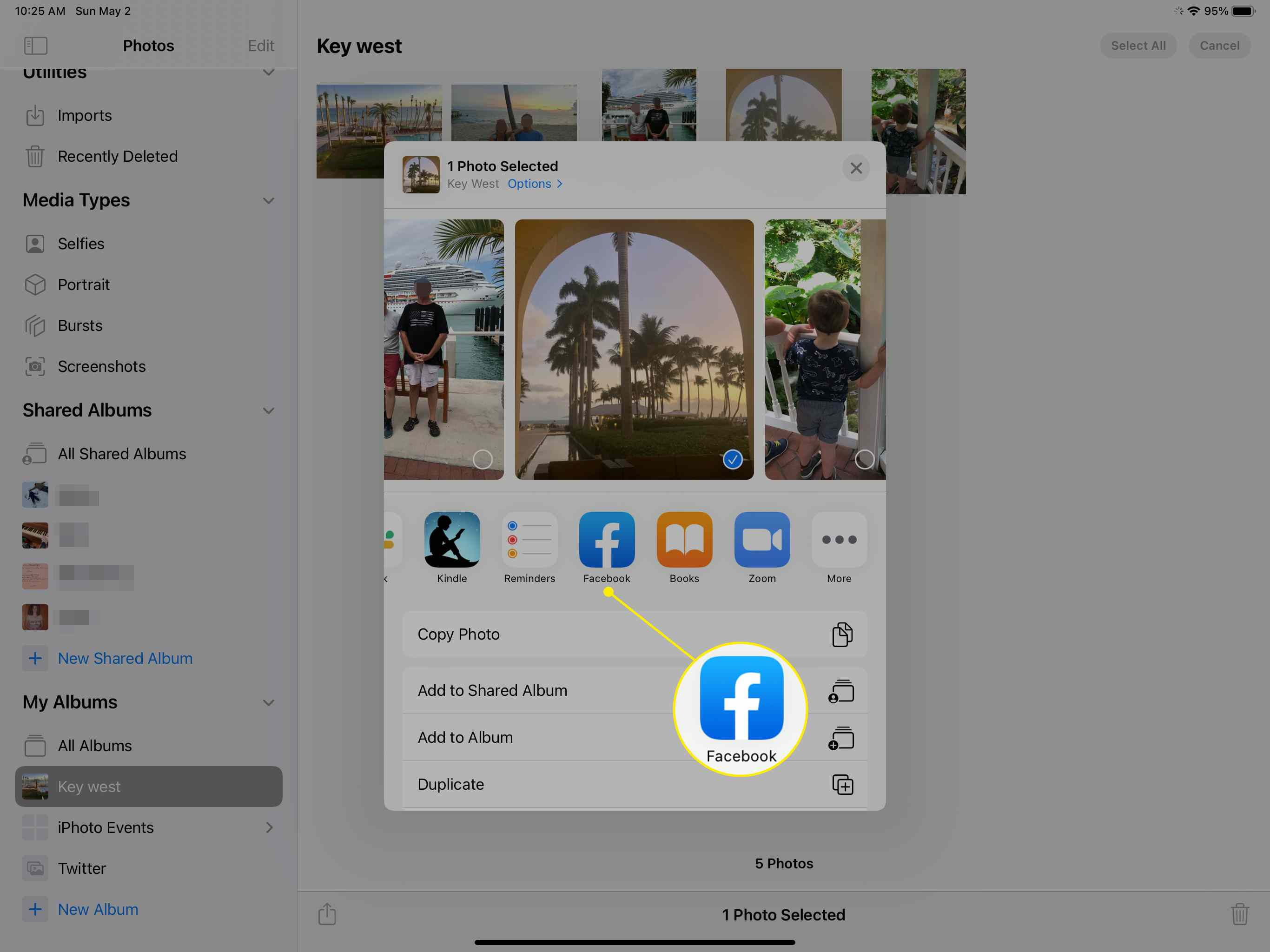 Facebook in the Share Sheet on iPad