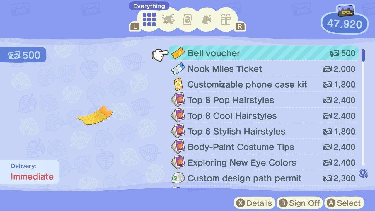 Animal Crossing: New Horizons Bell voucher