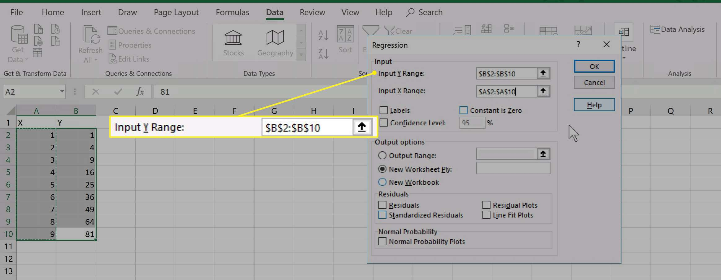 Excel Regression options with Input Y Range highlighted