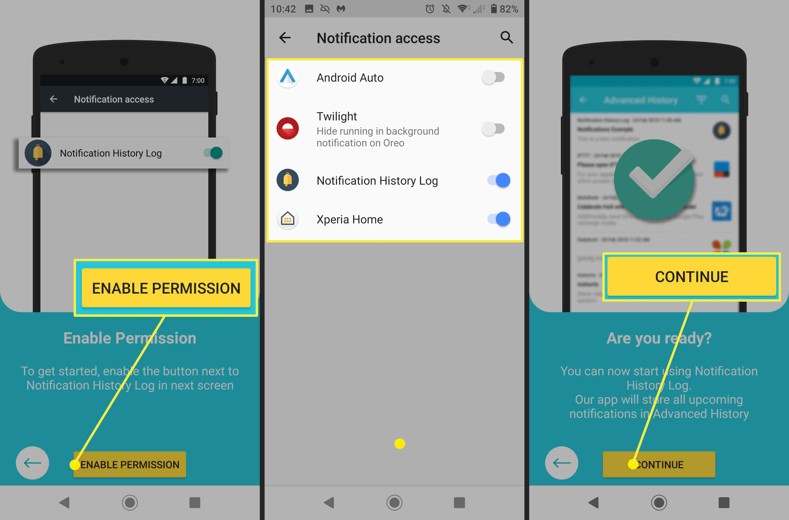 How to enable notifications on the Notification History Log app.