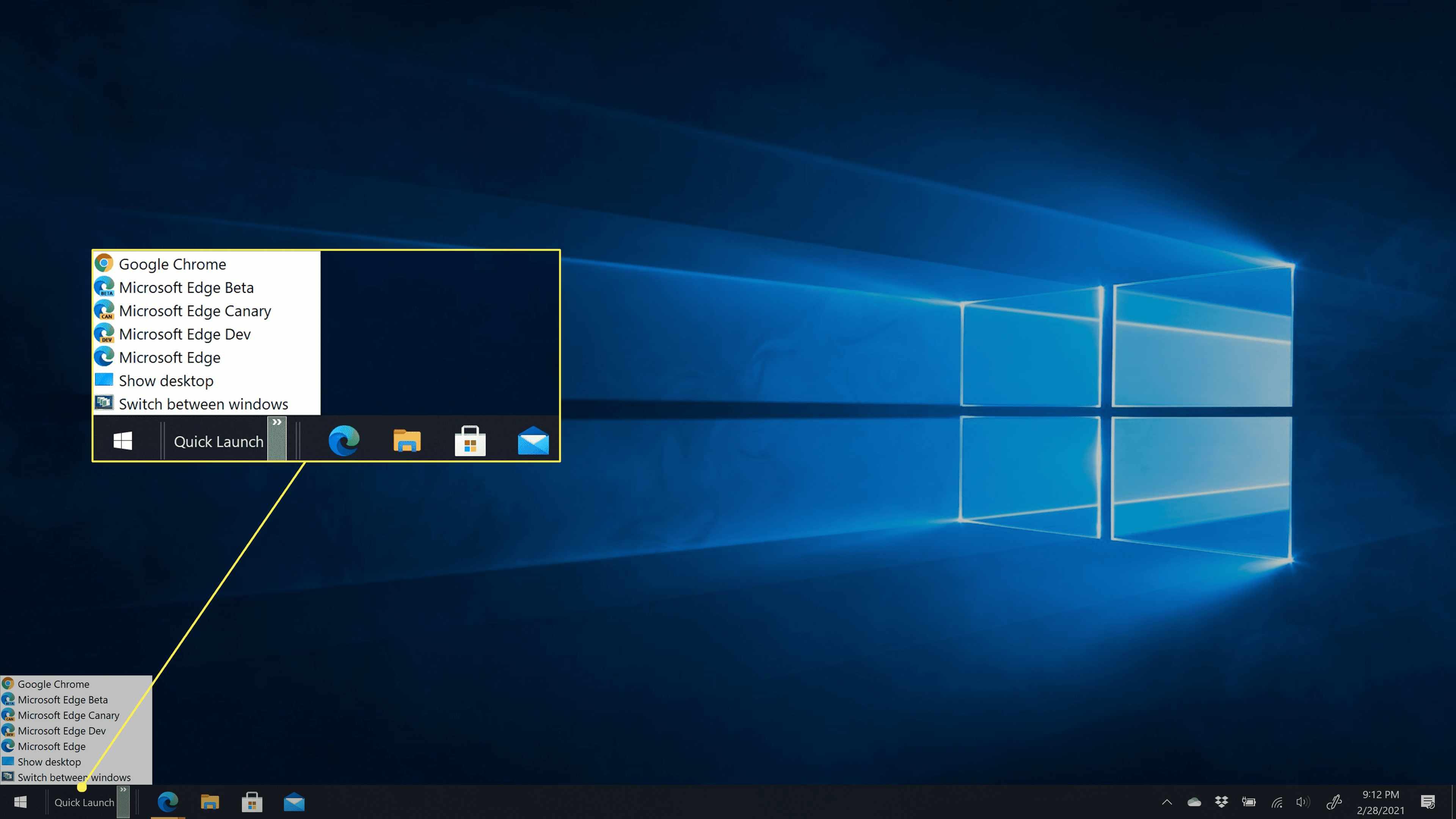 The Quick Launch menu restored in Windows 10.
