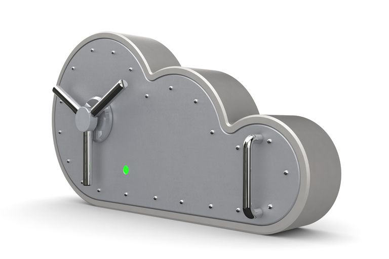 Image of a metal safe in a cloud shape