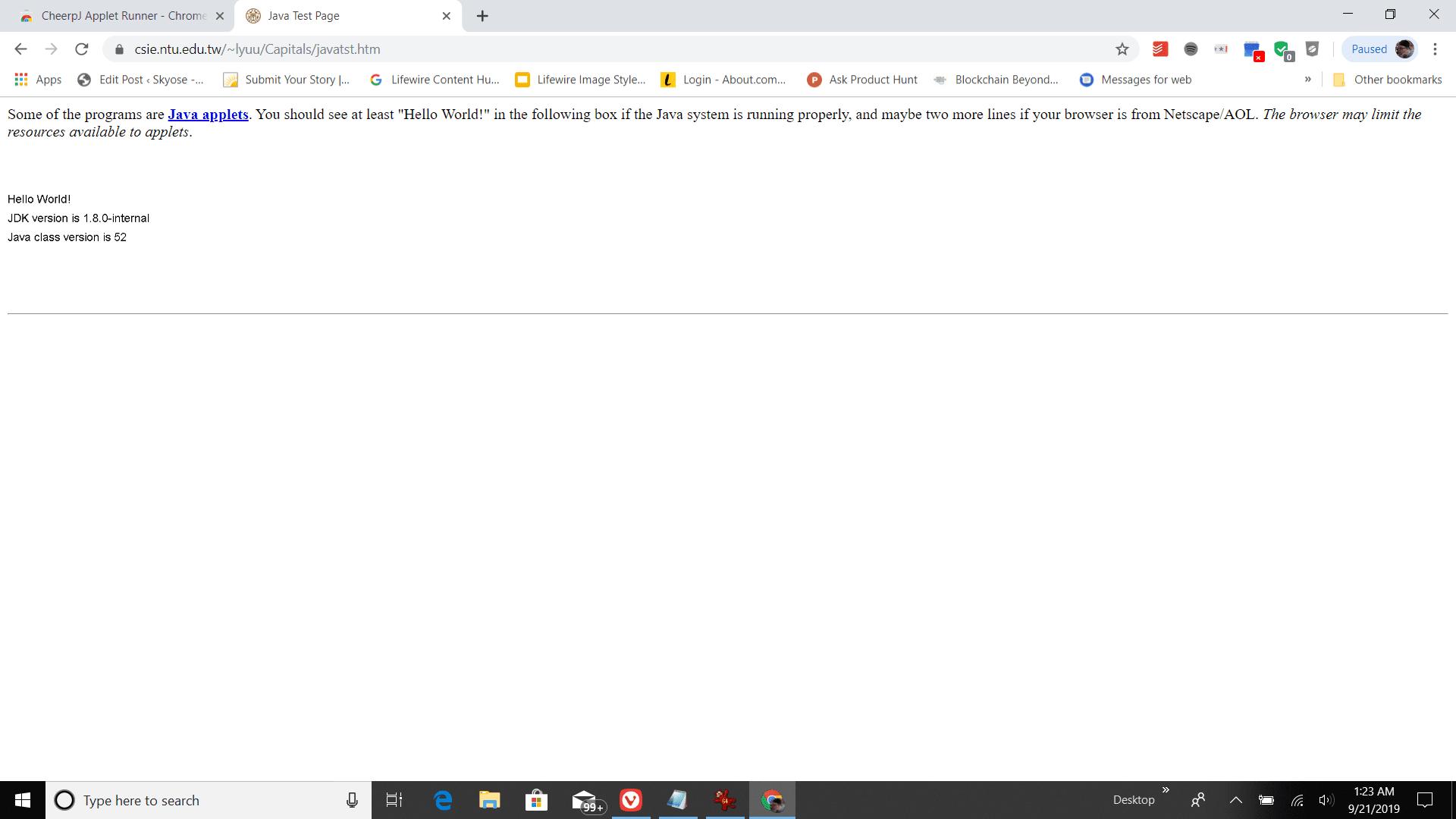 Screenshot of CheerpJ extension enabled