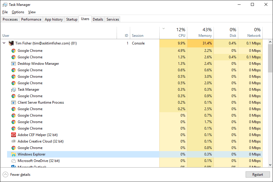 The Users tab in Task Manager in Windows 10