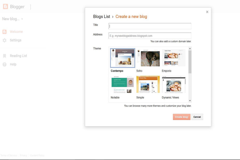 Desktop site screenshot of Blogger's Create a new blog webpage.