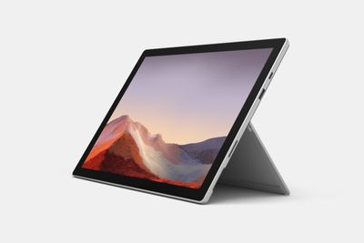 Microsoft Surface Pro 7 without keyboard facing the user