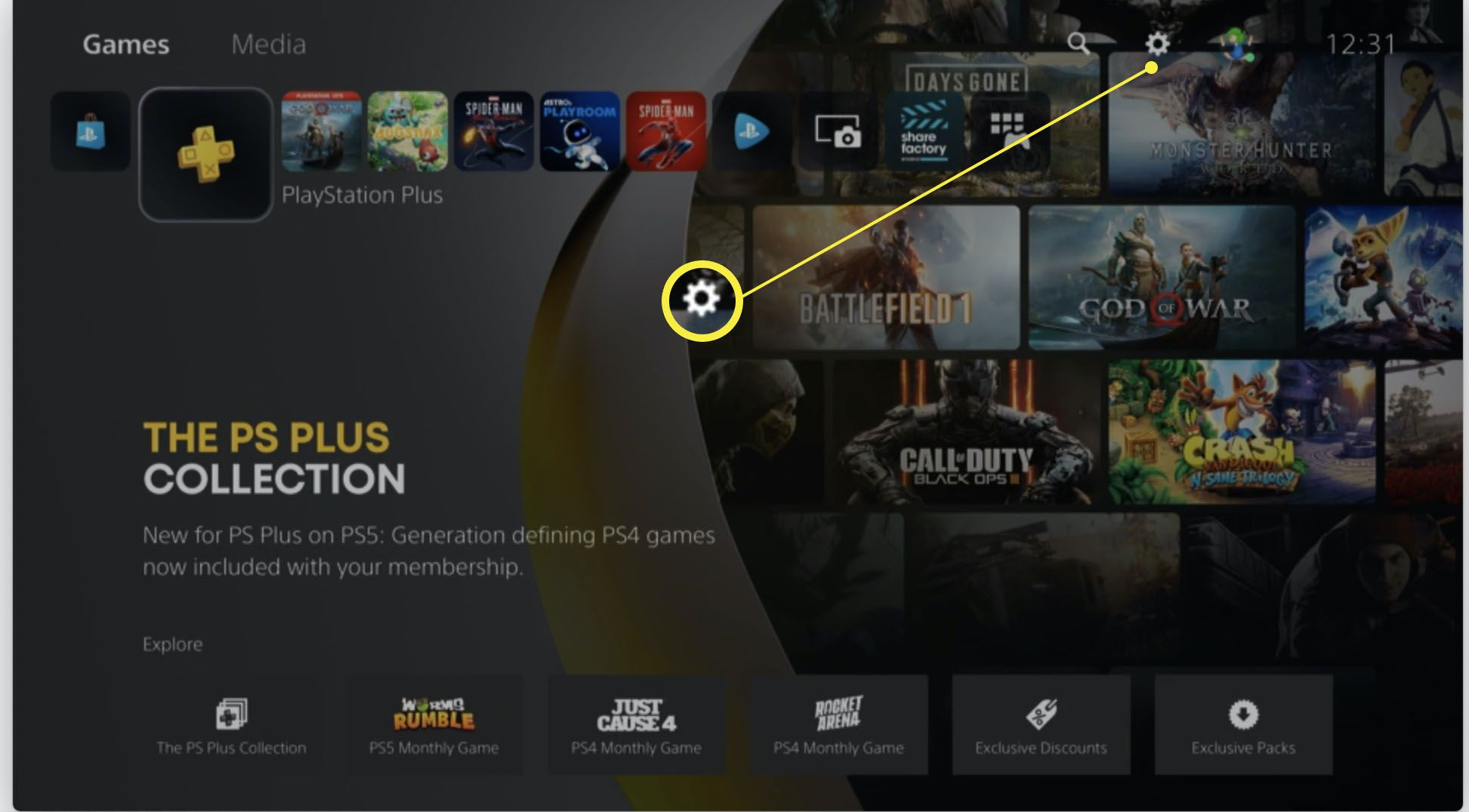 Playstation 5 dashboard with Settings highlighted