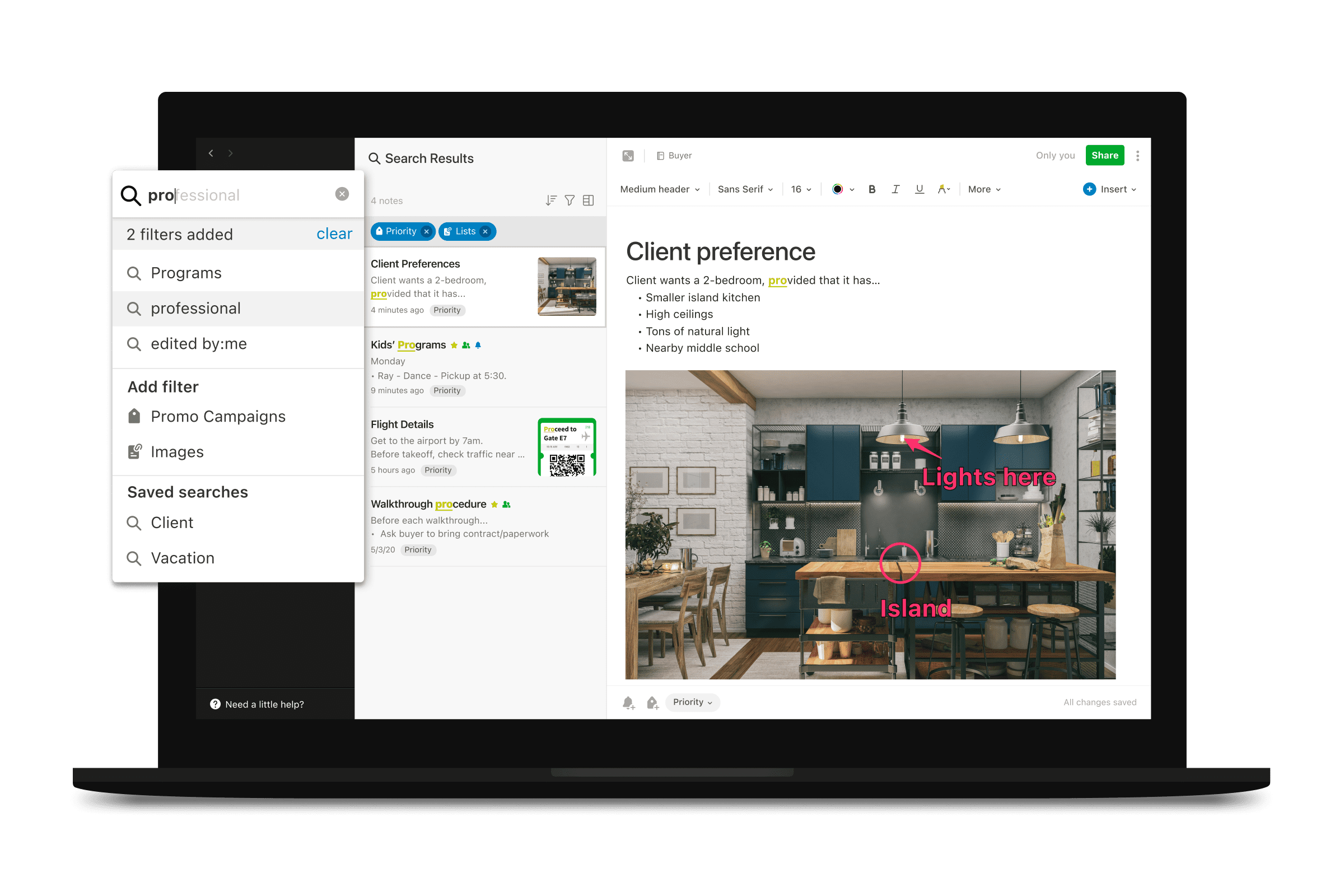 Evernote on a laptop with the search function open.