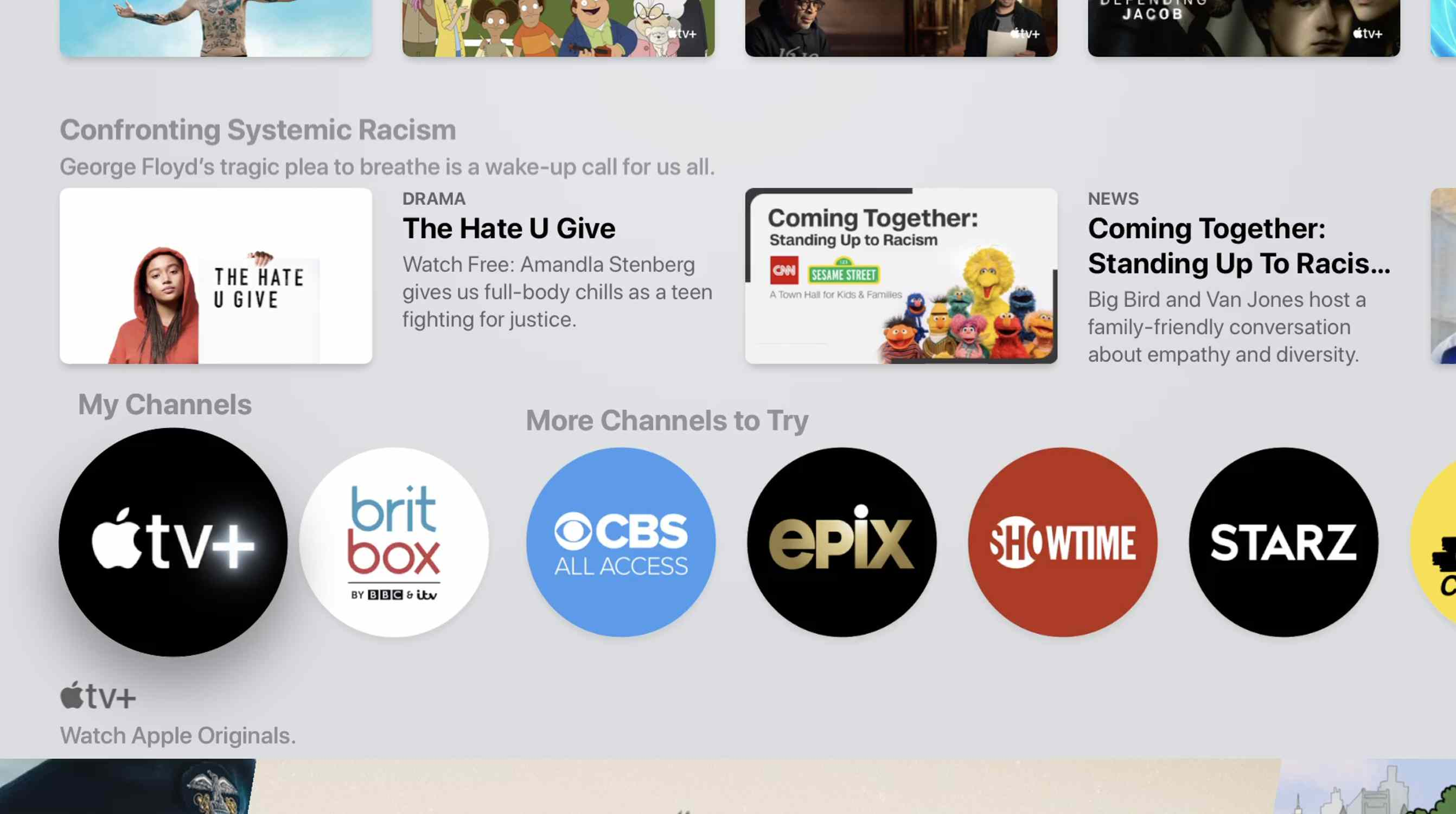 Screenshot of Apple TV+ in My Channels section