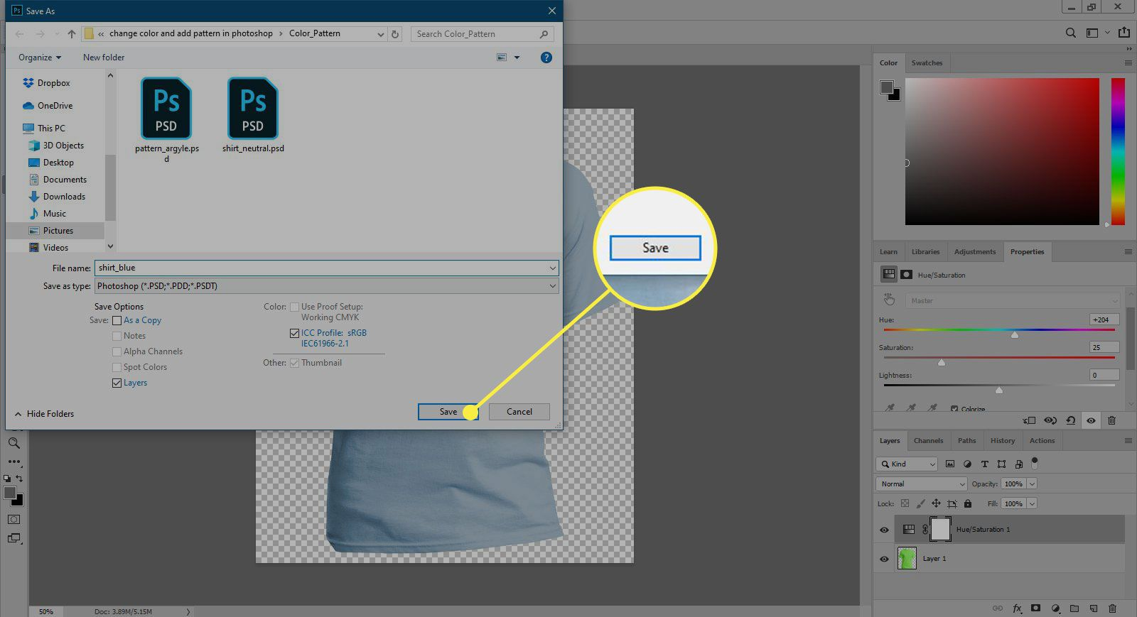 A screenshot of Photoshop's Save As window witht he save button highlighted