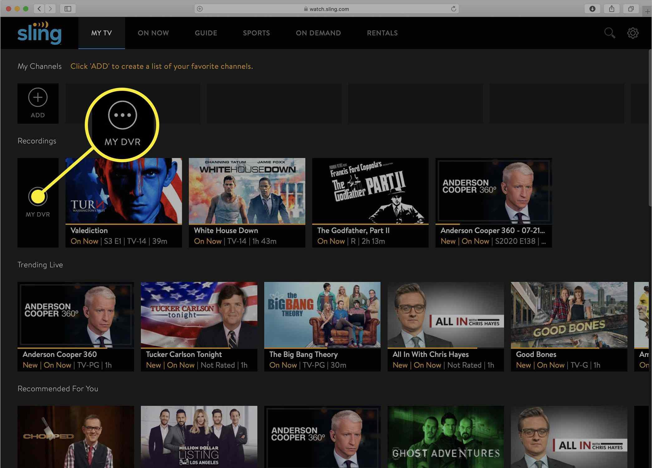 Screenshot of the Sling TV My Recordings DVR screen.