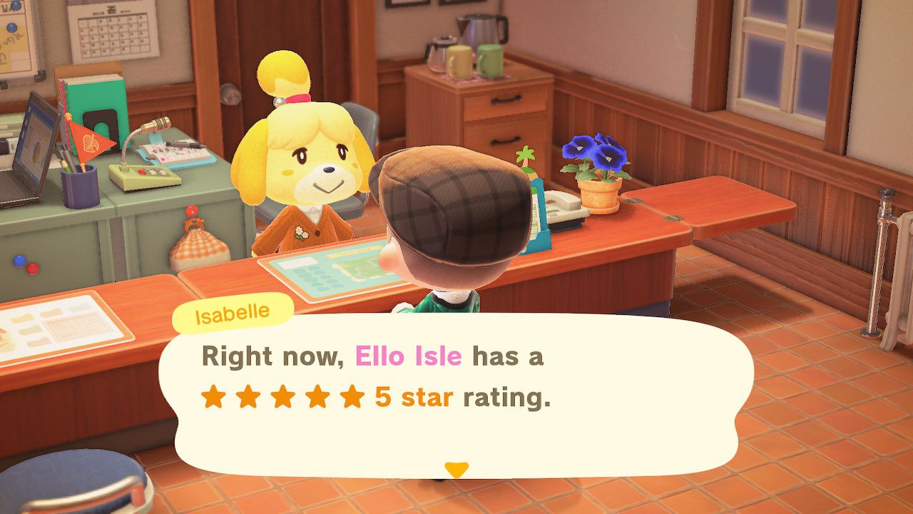 Isabelle gives the island rating in New Horizons