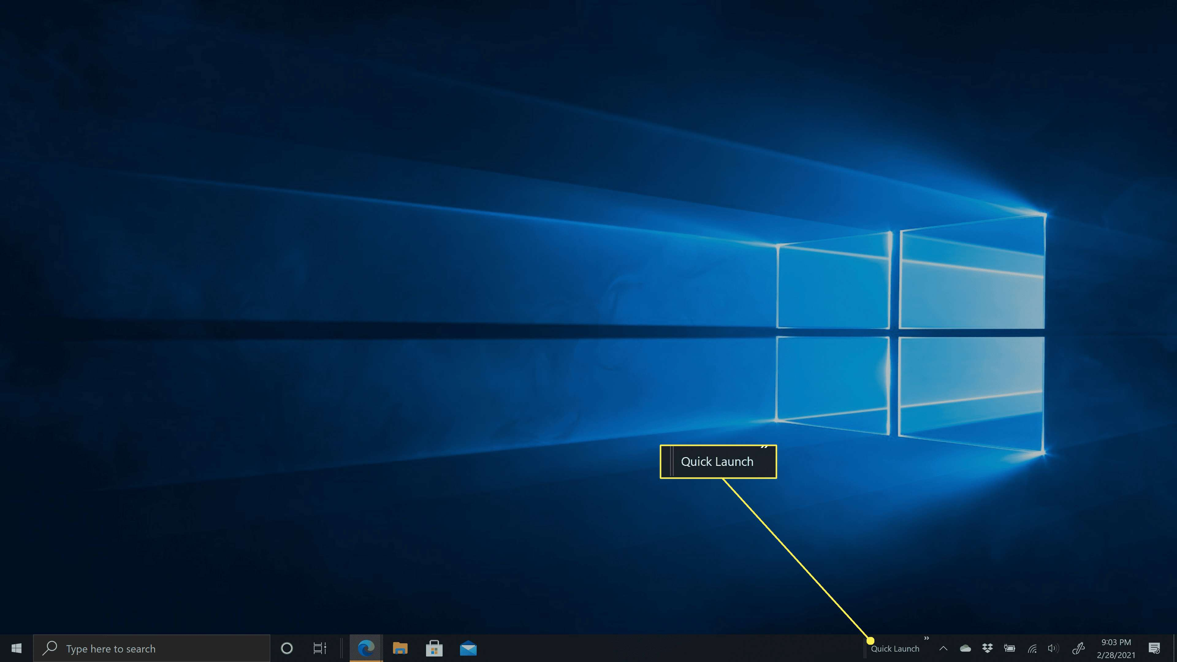 The Quick Launch toolbar in Windows 10 on the right side