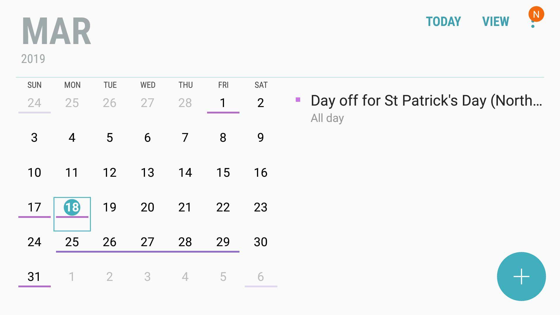 Screen shot of Gooogle Calendar