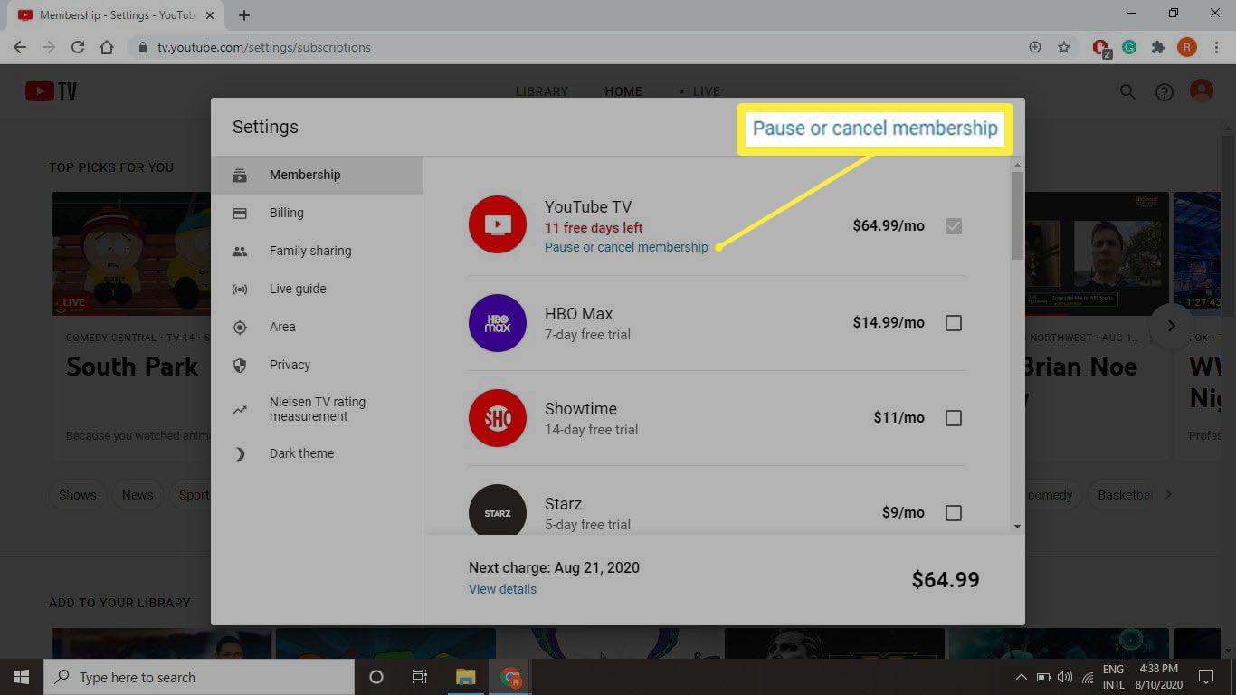 A screenshot of the Membership section of tv.youtube.com.