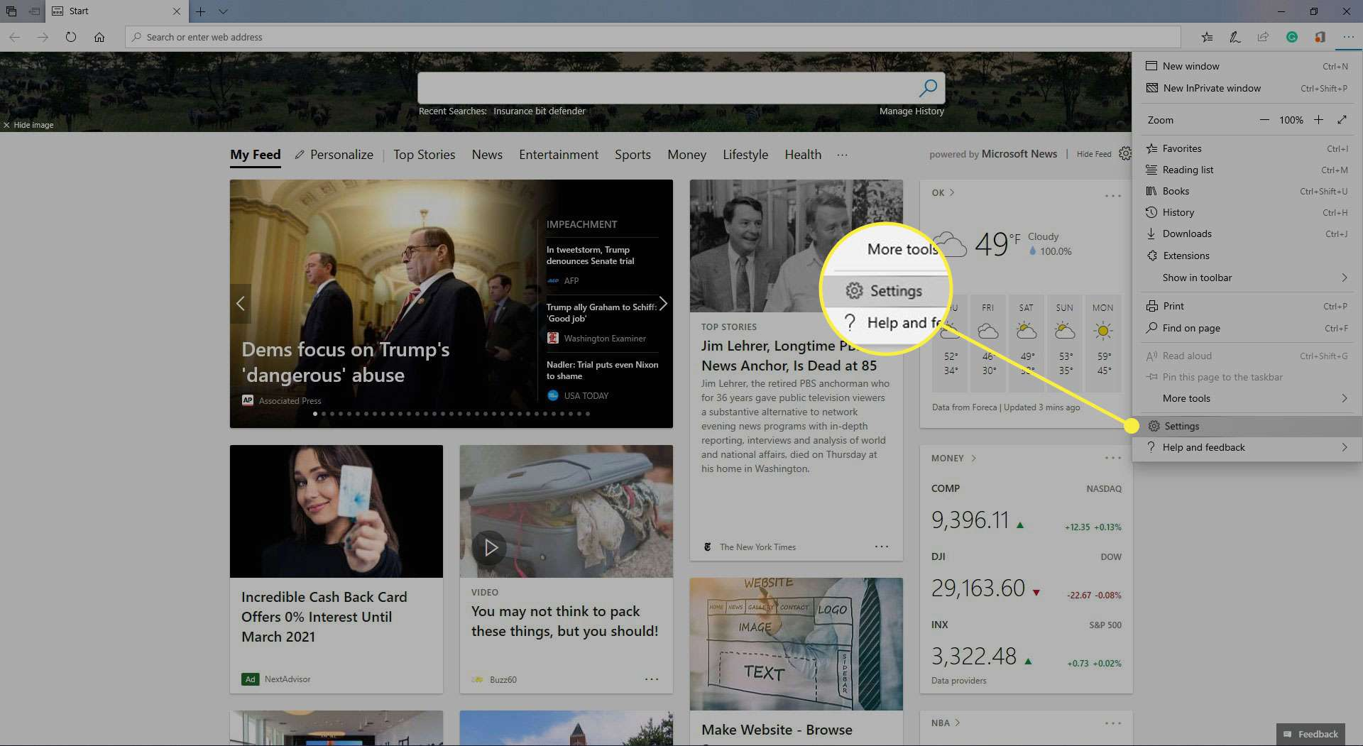 Microsoft Edge with the Settings option highlighted