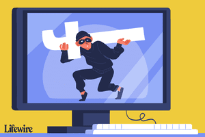 Illustration of a computer monitor with a burglar stealing the Facebook logo