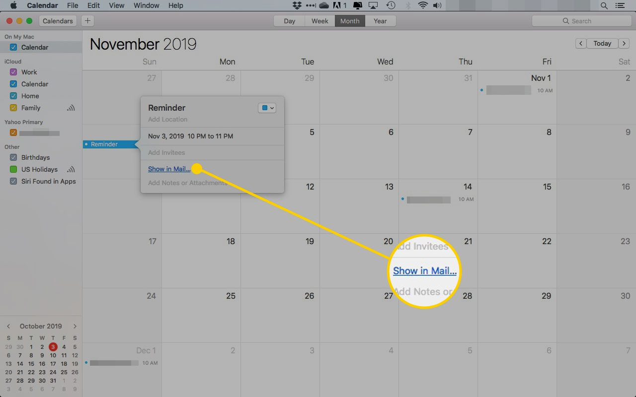 An event in Calendar in macOS with the Show in Mail link highlighted