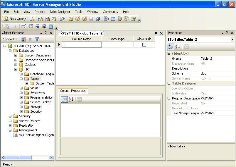 Creating Tables in Microsoft SQL Server 2008