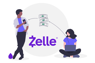 Illustration of money transferring between a phone and computer