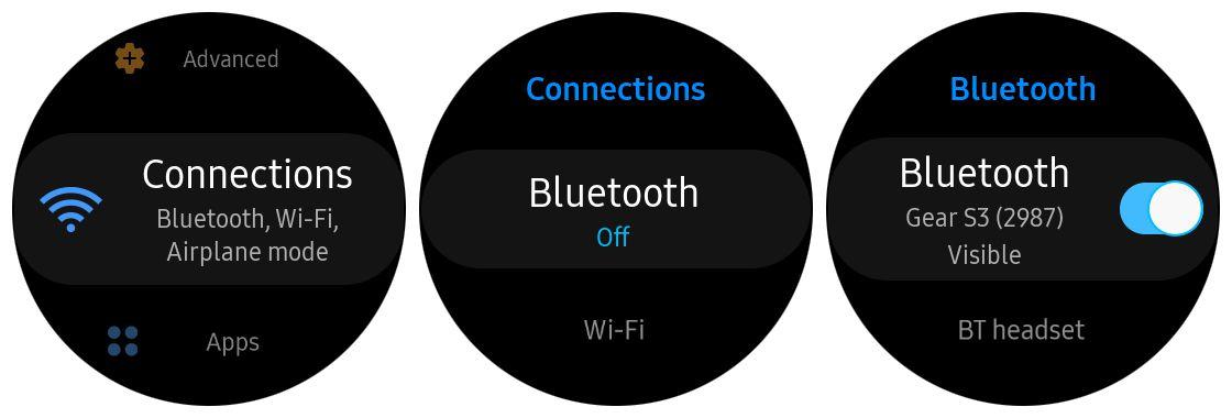 Samsung Gear S3 bluetooth settings