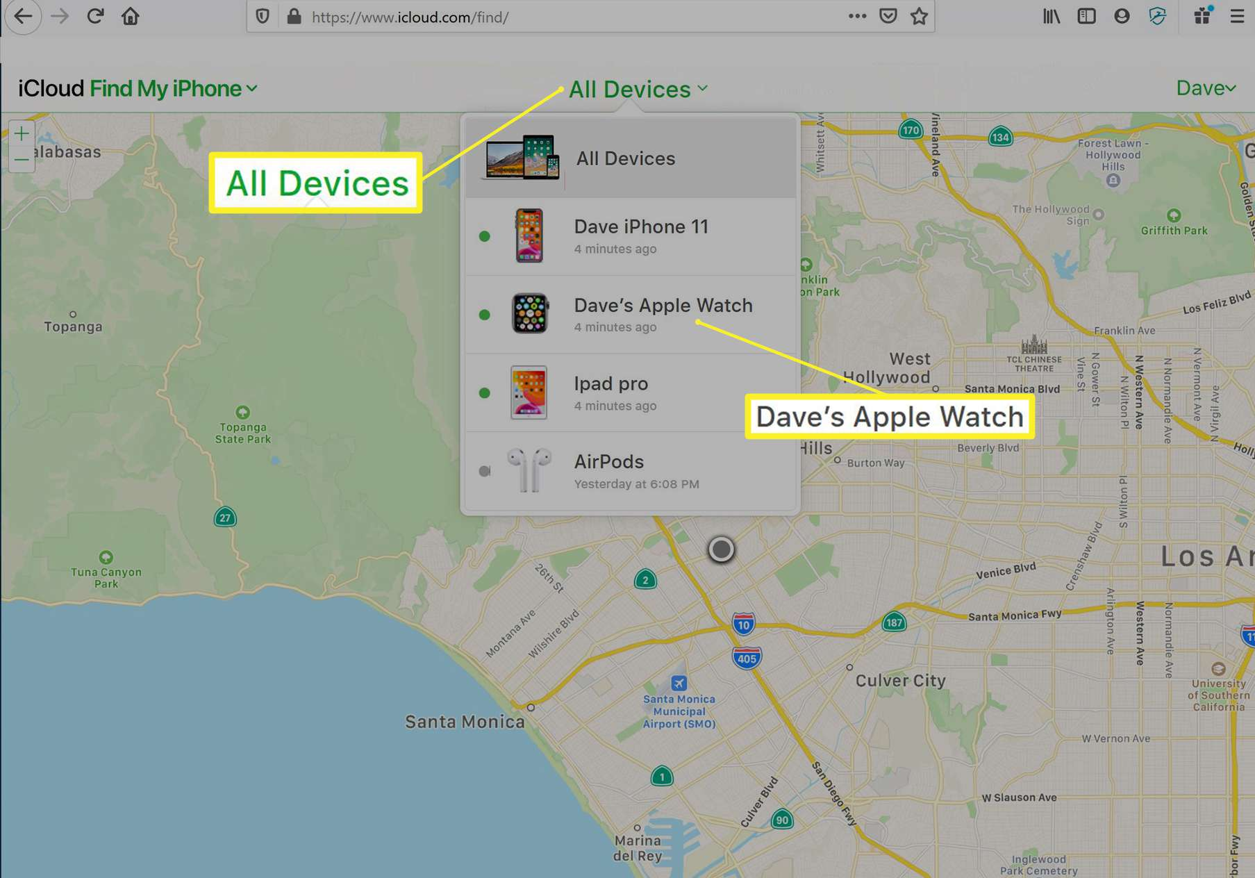 Find My feature locating an Apple Watch